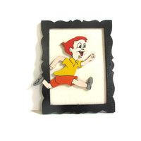 Vintage Folk Art Wall Hanging Picture // cut out of a young boy running