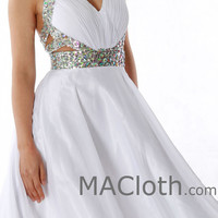 Halter V Neck with Crystals Short White Homecoming / Prom Dress 160148