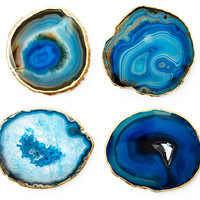 Gold-Rimmed Agate Coasters, Blue, Set of 4, Coasters
