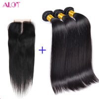 Online Shop Malaysian Virgin Hair With Closure Grade 8A Malaysian Straight Hair With Closure Cheap Human Hair Weave With Closure And Bundles | Aliexpress Mobile