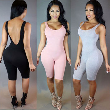 Rompers Womens Jumpsuit Overalls Bodysuit Combinaison Femme Sexy Skinny Sleeveless Backless Bodycon Jumpsuit Women Playsuit