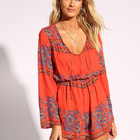 Red Printed Plunge V Romper