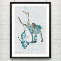 Sven and Olaf Frozen Disney Poster, Watercolor Print, Children's Room Wall Art, Minimalist Home Decor Not Framed, Buy 2 Get 1 Free! [No. 04]