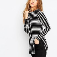 ASOS Longline Top In Stripe With Side Splits and Long Sleeves