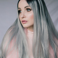 Heahair® Fashion Affortable Dark Root Ombre Sliver Handtied Synthetic Lace front Wig for Party HS0021 — HEAHAIR Synthetic Lace Front Wigs