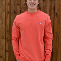 Southern Tide Heathered Upper Deck Pullover- Fire