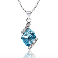Diamond Cut Elegant Swarovski Elements Crystal Pendant Necklace - (Blue)