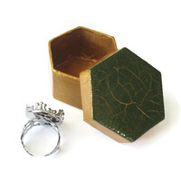 Small Gift Box hand painted metallic gold with dark green and gold crackle lid, hexagonal box, mens gift box, masculine decorative box
