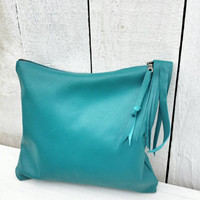 Turquoise Leather Clutch / Leather Clutch / Simple Leather Clutch / Leather Handbag Turquoise Leather Handbag