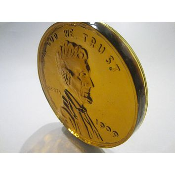 Abraham Lincoln Amber Glass Portrait Presidential Commemorative Paperweight