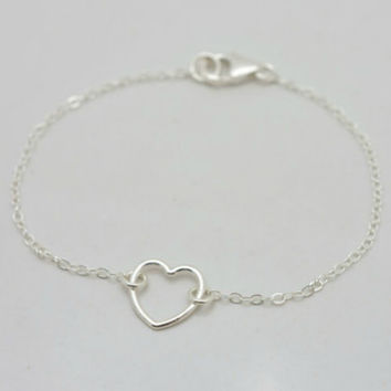 Beautiful Sterling Silver Heart Bracelet - Valentines Day Gift for Her