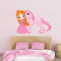 kcik495 Full Color Wall decal unicorn fairytale princess pink children's room