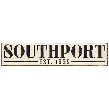 Handcrafted Barn Board Wood Sign - Southport Est. 1639 - 44-in