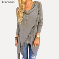 Thin Autumn Cardigan Women Long Sleeve Slash Knitted Oversized Sweater Loose Hem Tassel Cardigan Sweater Women Plus Size XXL 3XL