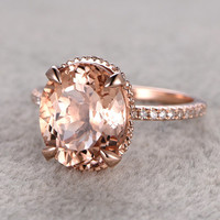 11x9mm big Morganite Engagement ring Rose gold,Diamond  wedding band,14k,Oval Cut Peach pink Gemstone Promise Bridal Ring,Claw Prongs,stack
