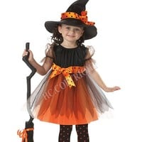 Halloween Carnival Costume For Kids Witch Cosplay Dress With Hat Bowknot Party Girls Children Performance Disfraces