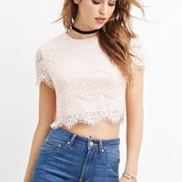 Sequined Eyelash Lace Crop Top