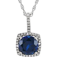 "Sterling Silver 7mm Created Sapphire & .015 CTW Diamond 18"" Halo-Style Necklace"