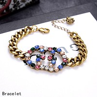 GUCCI Popular Woman Men Delicate Colorful Diamond Double G Bracelet Hand Catenary Necklace Accessories Jewelry