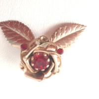 Vintage Rose Pin, 1960s Rose Pin, Red Rose Brooch, Ruby and Gold, Vintage Rose Brooch