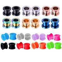 28PCS Gauge Plugs Tunnels Silicone Double Flare Steel Screw Fit Ear Expander 4G-16mm