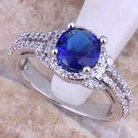 Terrific Blue  Cubic Zirconia White CZ 925 Sterling Silver Ring For Women Size 5 / 6 / 7 / 8 / 9 / 10 / 11 / 12 S0441