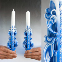 Taper candles - Blue candles -  Candle set