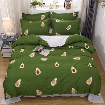 Fashion Avocado Style Home Bedding Sets Duvet Cover Flat Sheet Winter Full King Single