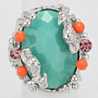 Teal Seahorse Stretch Fashion Ring