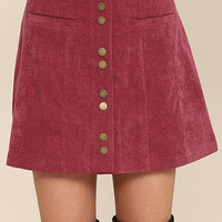 Made with Moxie Wine Red Corduroy Mini Skirt