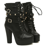 Fashion Buckles and Rivets Design Women's Chunky Heel Short Boots FREE SHIPPING !!!