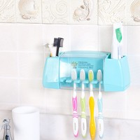 Hot Sale Multifunctional Toothbrush Holder storage Box Bathroom Accessories Suction Hooks Tooth Brush Holder Free shipping