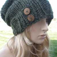 Dark Green Moss Forest Hunter Boho Slouchy Hand Knit Oversized Ribbed Woodsy Beanie Hat With Wood Buttons