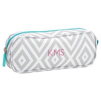 Gear-Up Preppy Diamond Pencil Case, Grey
