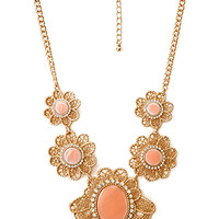FOREVER 21 Regal Flower Necklace Peach/Gold One