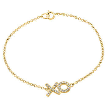 .925 Sterling Silver Gold Plated XO Cubic Zirconia Bracelet: SOD