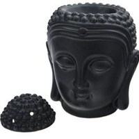 Buddha Head Religious Decorative Ceramic Fragrant Oil Burner, Black