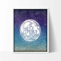 Full Moon Astronomy Art Print - Stars Poster - Nursery Wall Decor