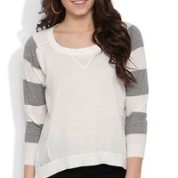 Sweater with Mesh Sides and Striped Three Quarter Length Sleeves