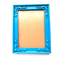 Teal Picture Frame - Blue Painted Frame - 5x7 Picture Frame - Baroque Photo Frame,Hanging Photo Frame,Table Picture Frame,Whimsical Frame