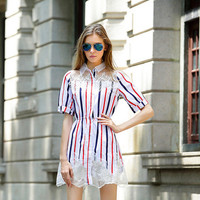 Vertical Stripes Sleeved Mesh and Lace Mini Dress