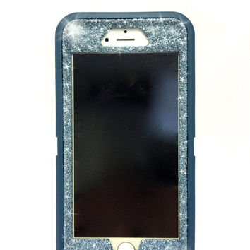 iPhone 6 Plus OtterBox Defender Series Case Glitter Cute Sparkly Bling Defender Series Custom Case  Deep water blue / blue topaz