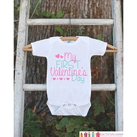 Girls Valentines Day Outfit - My First Valentines Onepiece - Pink Hearts Valentine Bodysuit for Baby Girl - Kids 1st Valentines Day Outfit