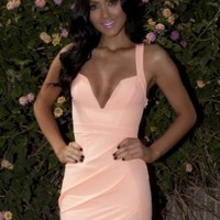 Peach Dress with V-Neck and Cross Over Back