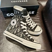 Converse x Dior canvas embroidered logo high-top canvas shoes