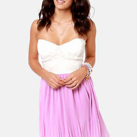 Pleat Your Case Cream and Lavender Dress