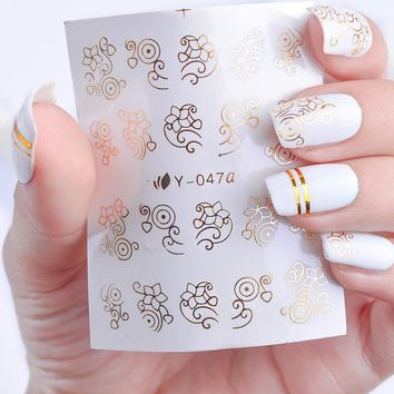 1 Sheets Gold/Silver/Black Bronzing Shiny Designs Nail Art Water Transfer Sticker Adhesive Water Decal Full Nail Art sticker TRY