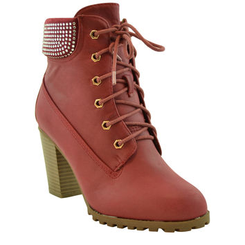 Womens Ankle Boots Lace Up Chunky Heel Rhinestone Booties WINE