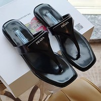 PRADA new ladies sexy solid color flat sandals slippers flip flops Shoes