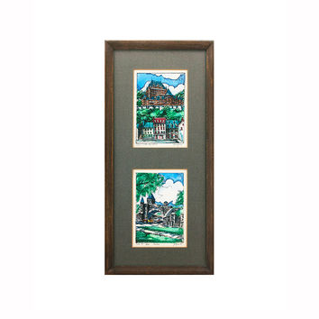 Two Ink and Watercolor Paintings Signed by Jacques Vintage Canadian Art